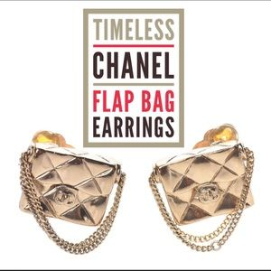 LAST CALL Vintage CHANEL flap bag classic earrings